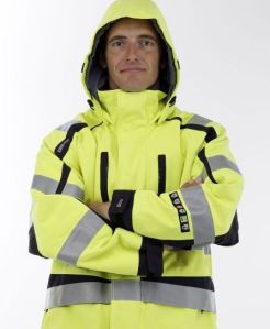 Man wears flameproof goretex jacket
